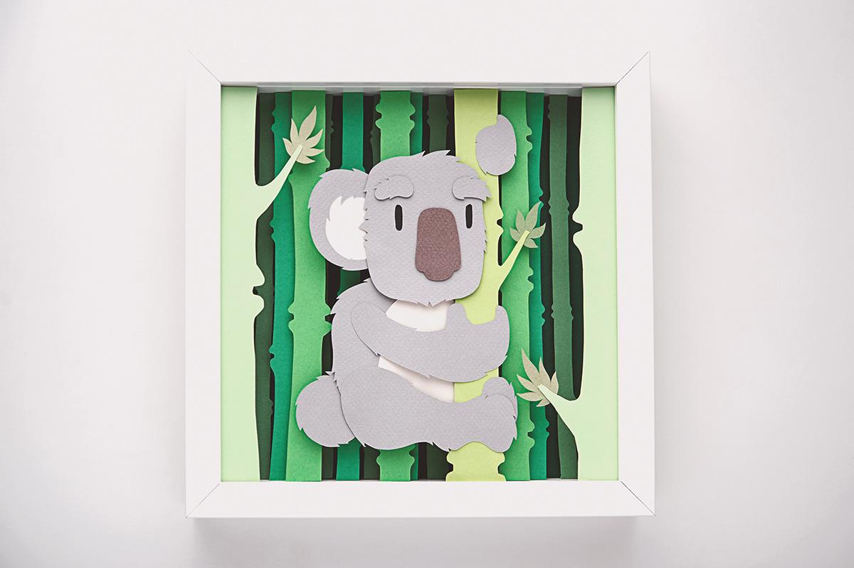 Whimsical Paper Animal Illustrations Vaclav Bicha  Strictlypaper koala_front