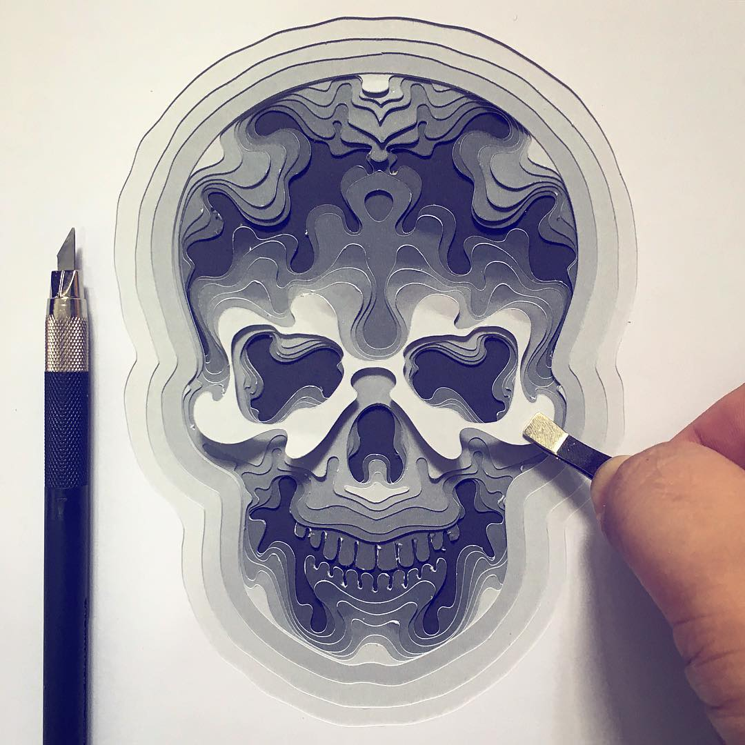 10 Wonderfully Crafted Paper Skulls Just in Time for Halloween - Patrick Cabral