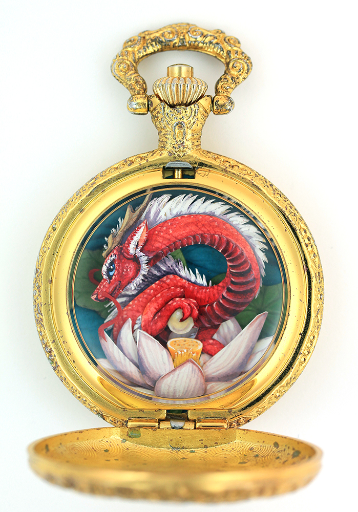 Mythical Gouache Painted Paper Cut Creatures Framed in Vintage Pocket Watches by Nicole Grosjean Lotus Dragon Watch