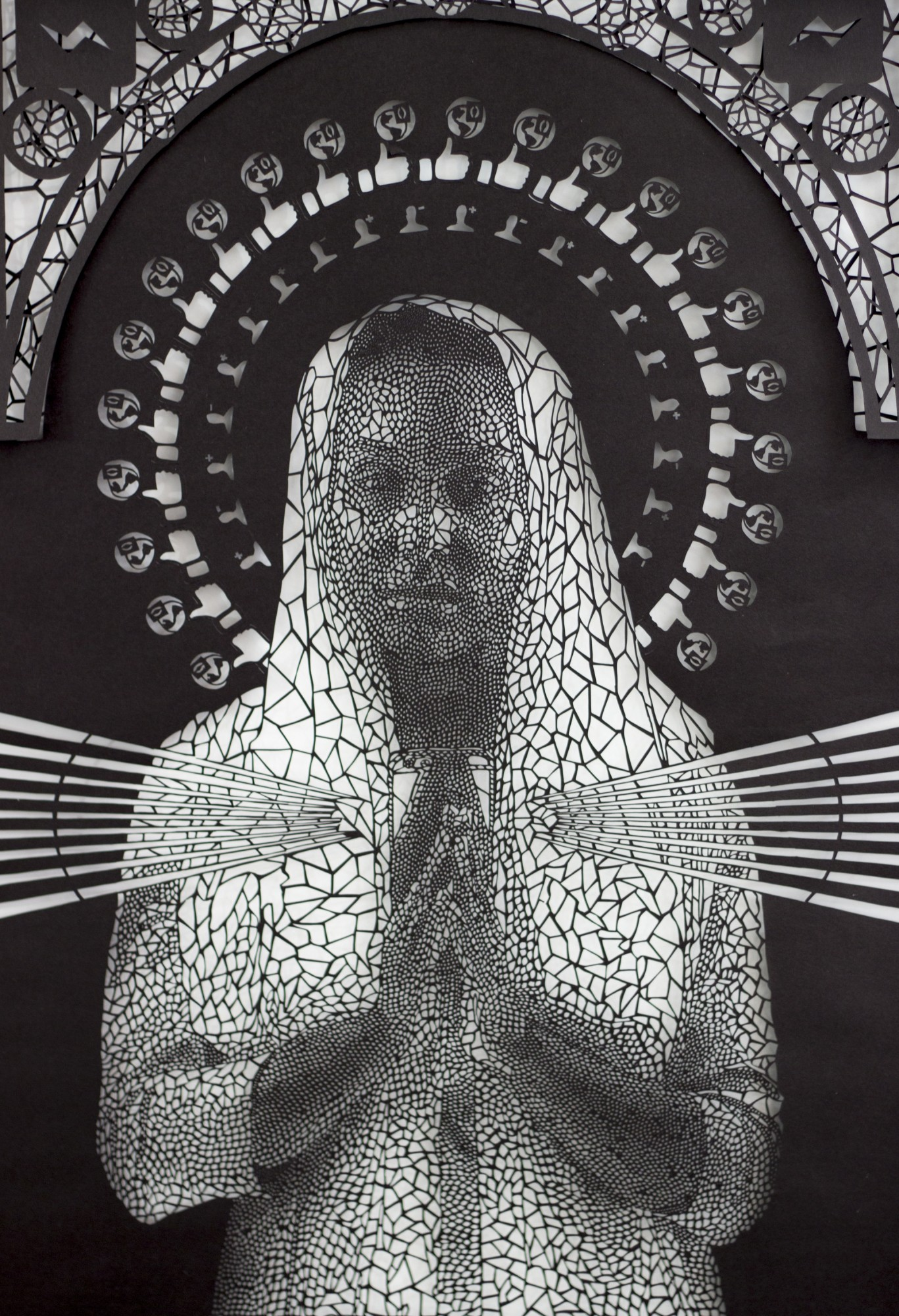Intricate Paper Cut Social Media Iconography Meshed With Religious Art by Carlo Fantin - Mary Closeup 1
