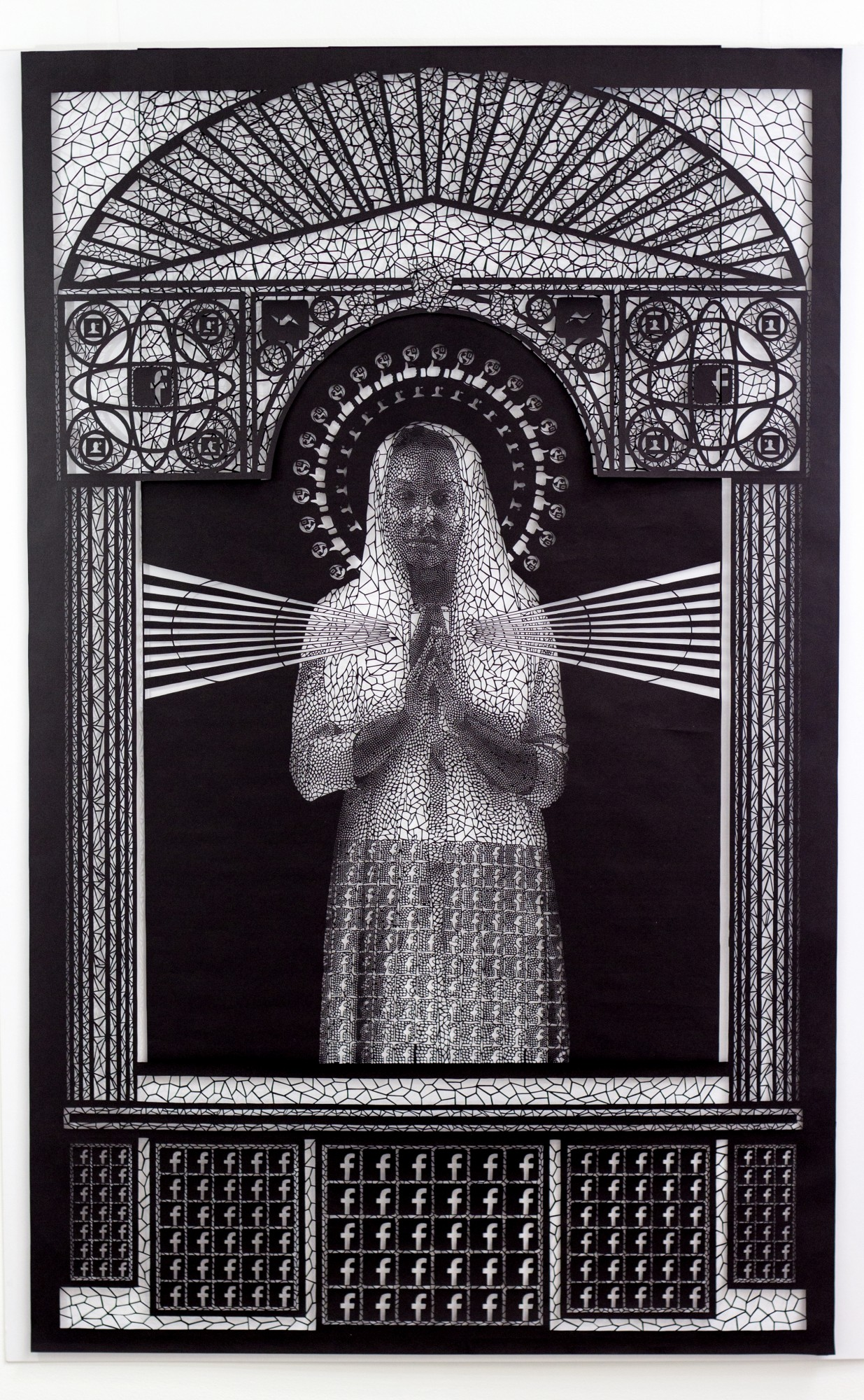 Intricate Paper Cut Social Media Iconography Meshed With Religious Art by Carlo Fantin - Mary