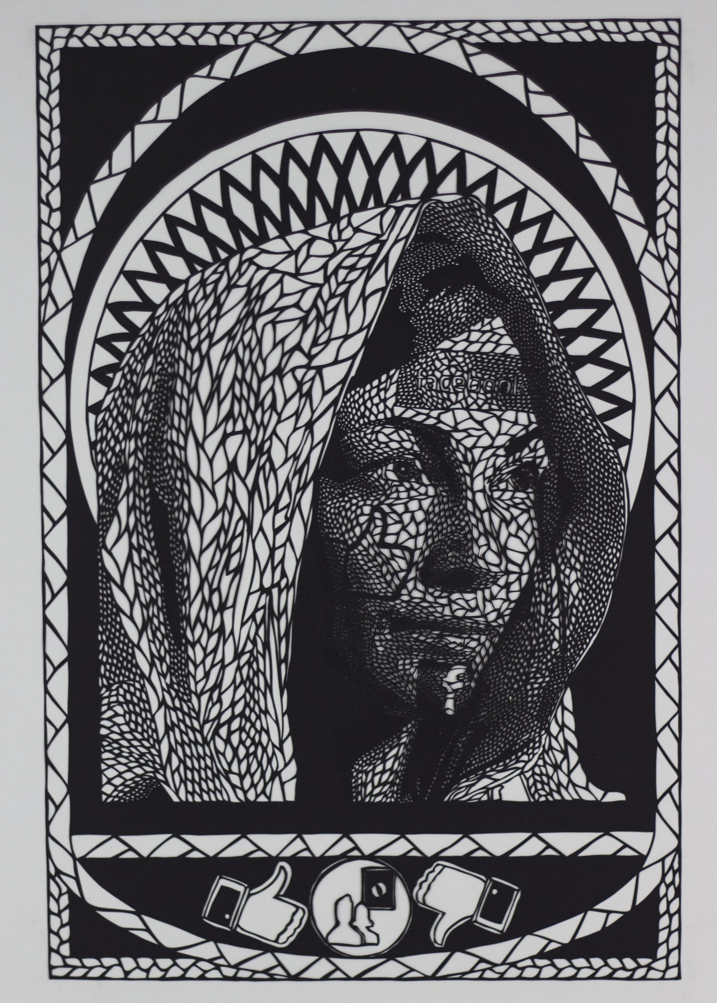 Intricate Paper Cut Social Media Iconography Meshed With Religious Art by Carlo Fantin - VIrgin 1