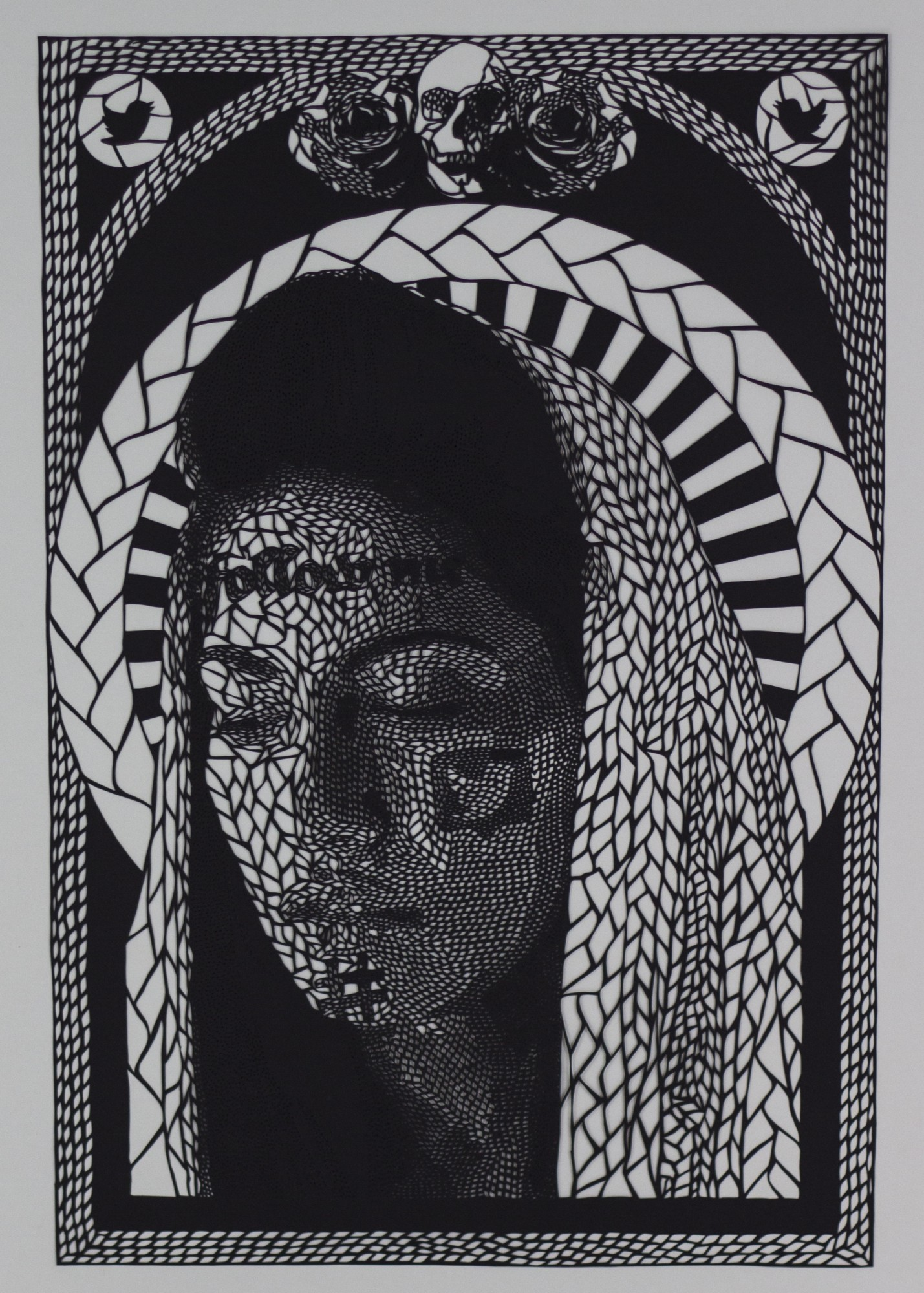 Intricate Paper Cut Social Media Iconography Meshed With Religious Art by Carlo Fantin - Virgin 2