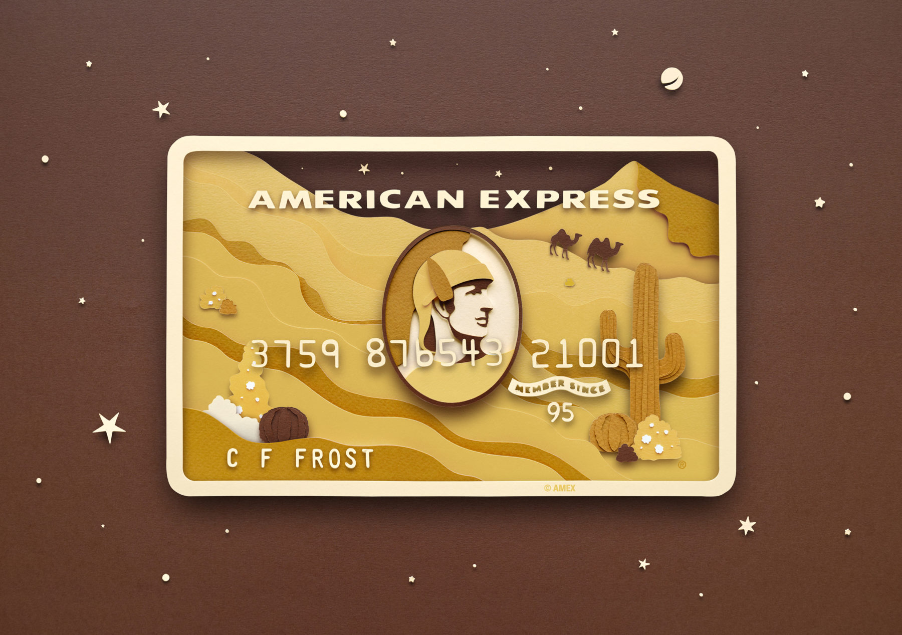 Paper Illustrations for American Express Card Series by Owen Gildersleeve - Gold