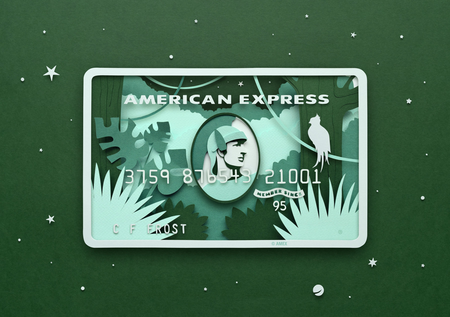 Paper Illustrations for American Express Card Series by Owen Gildersleeve - Green