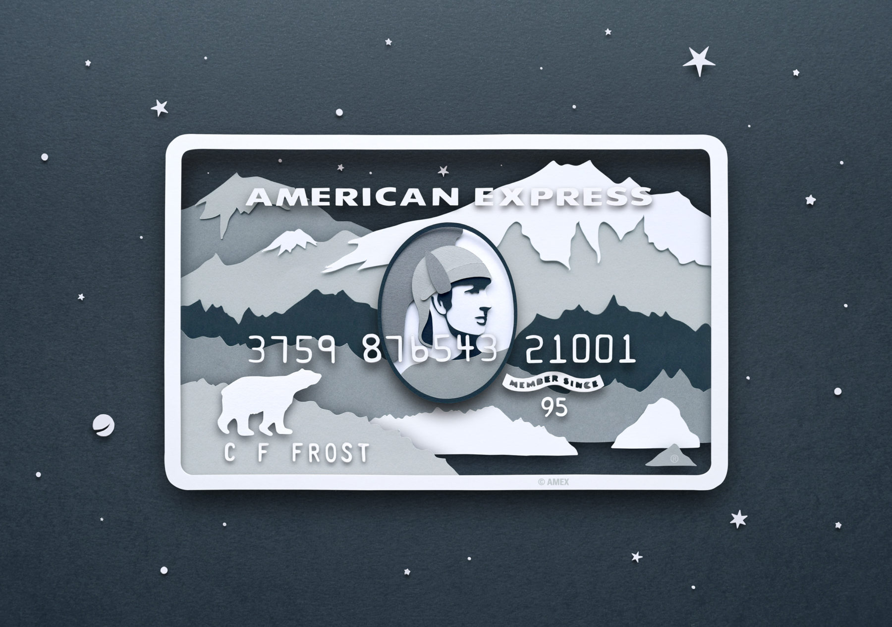 Paper Illustrations for American Express Card Series by Owen Gildersleeve - Platinum