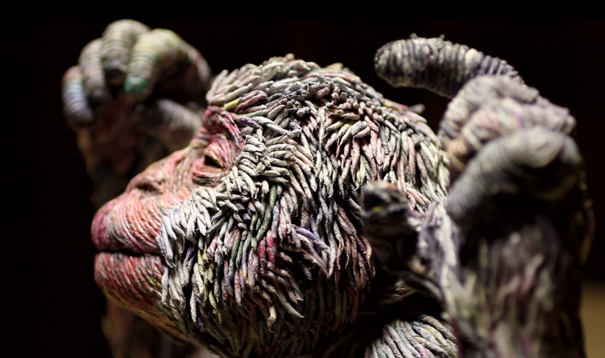 Artist Creates Three-Dimensional Animals from Strips of Rolled Recycled Newspaper Monkey Close Up