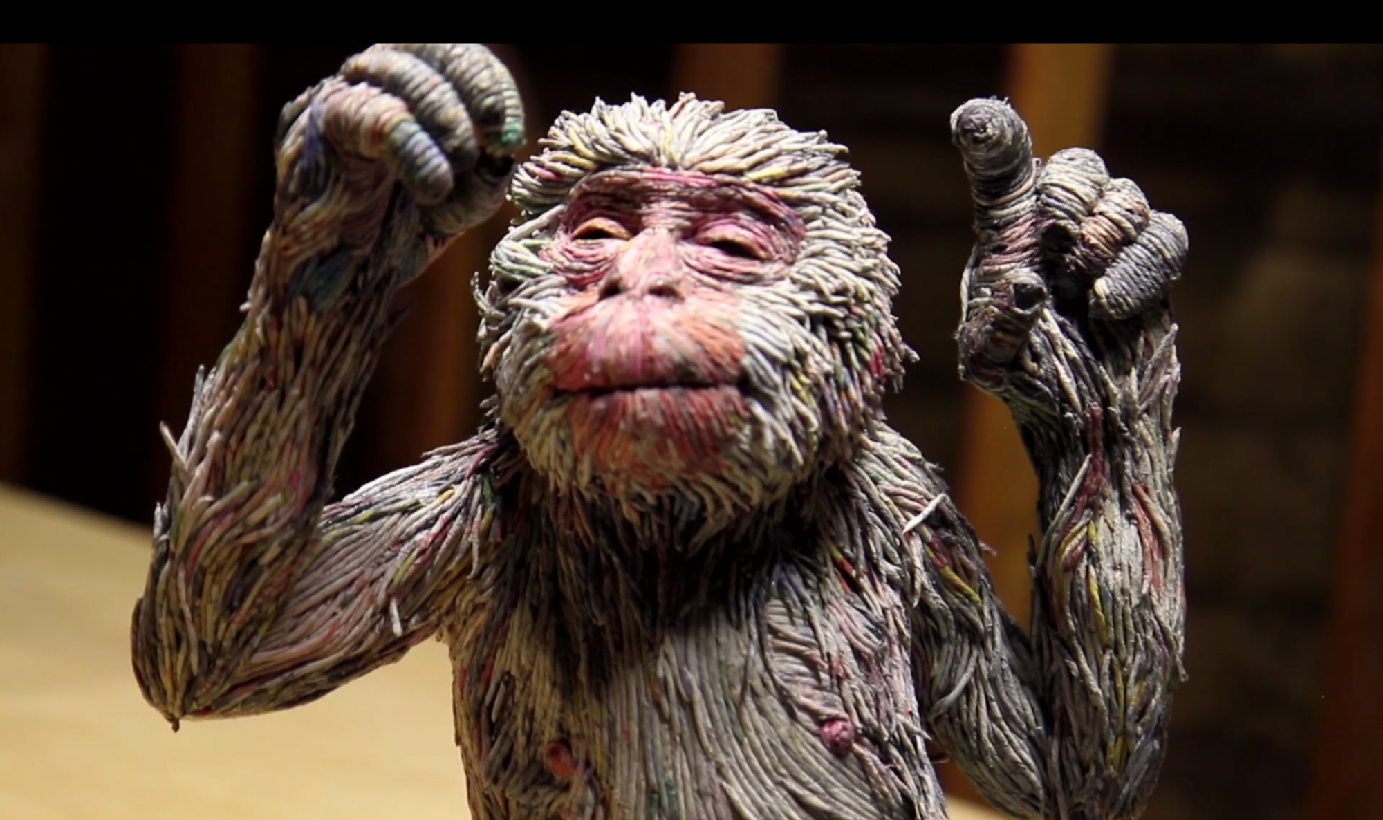Artist Creates Three-Dimensional Animals from Strips of Rolled Recycled Newspaper Monkey