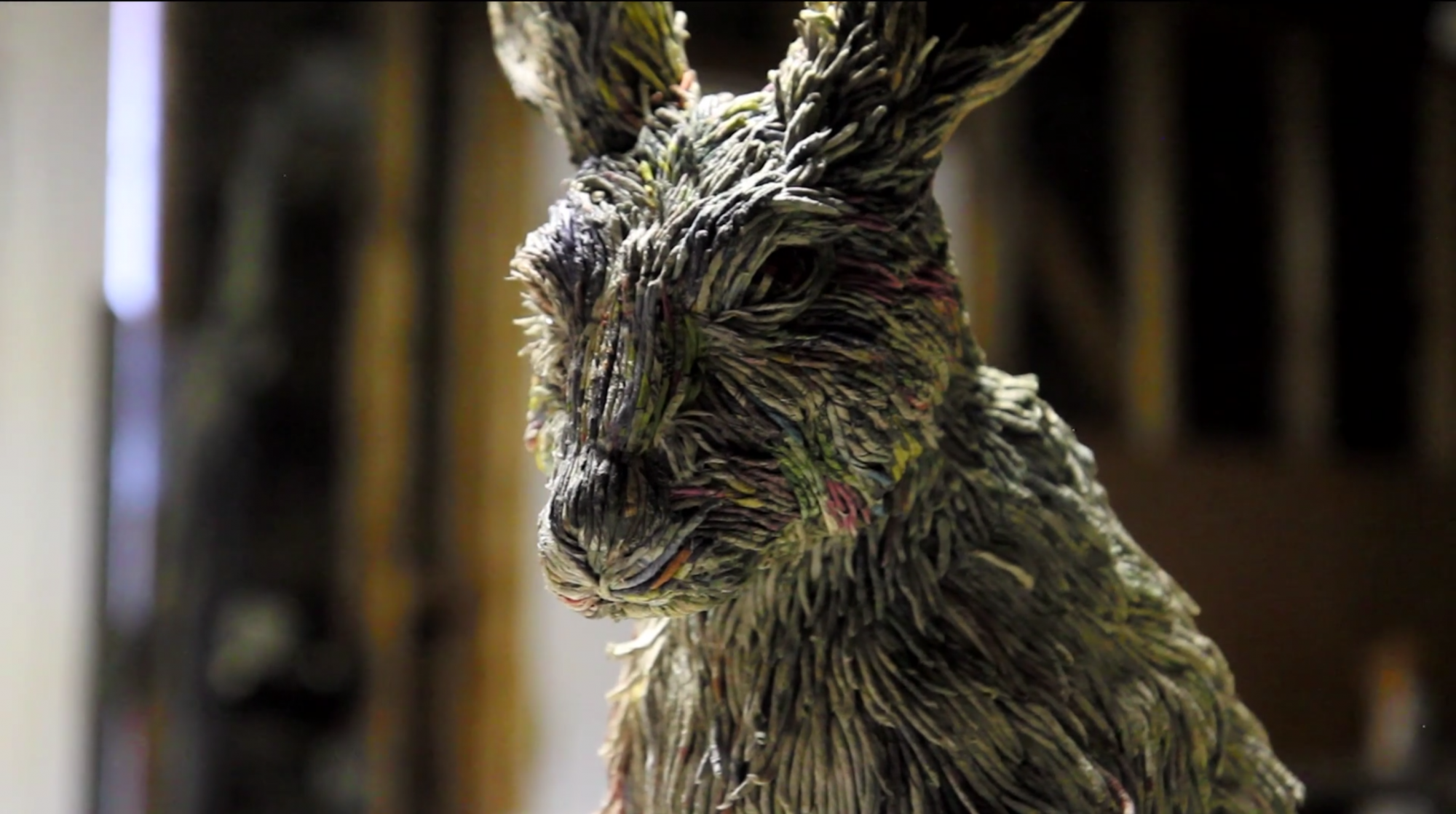 Artist Creates Three-Dimensional Animals from Strips of Rolled Recycled Newspaper Rabbit