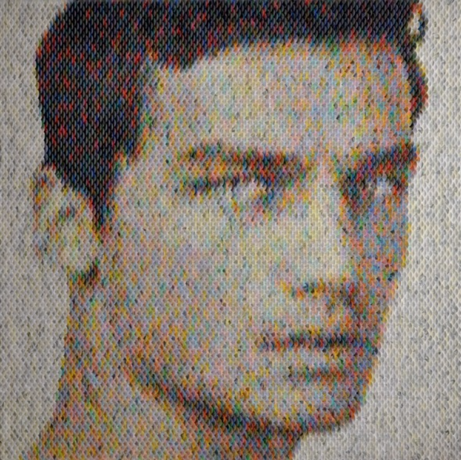 New Portraits Made From Hundreds of Punched Paint Chips - Bacchus