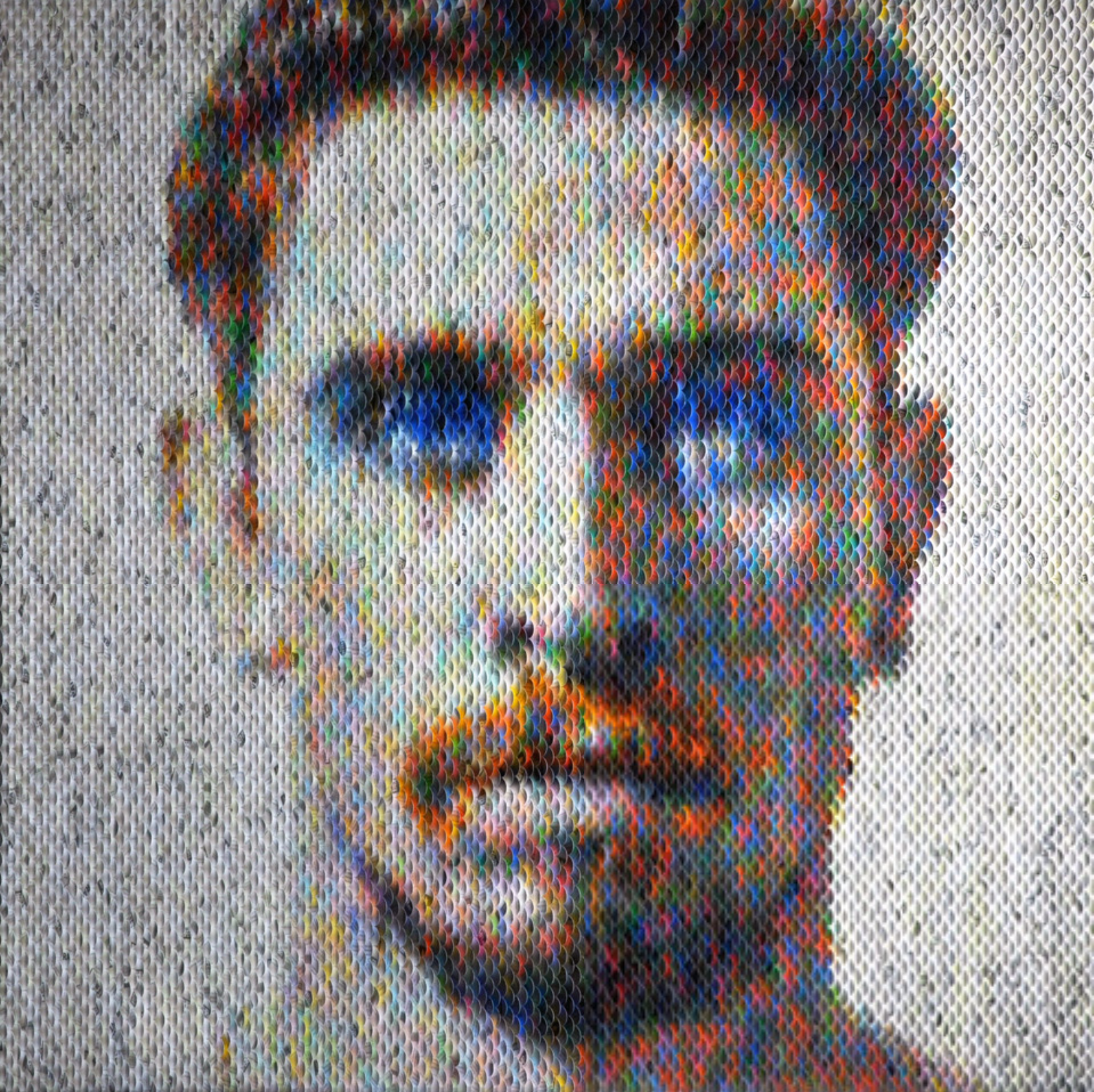 New Portraits Made From Hundreds of Punched Paint Chips - Blue Eyed Sam
