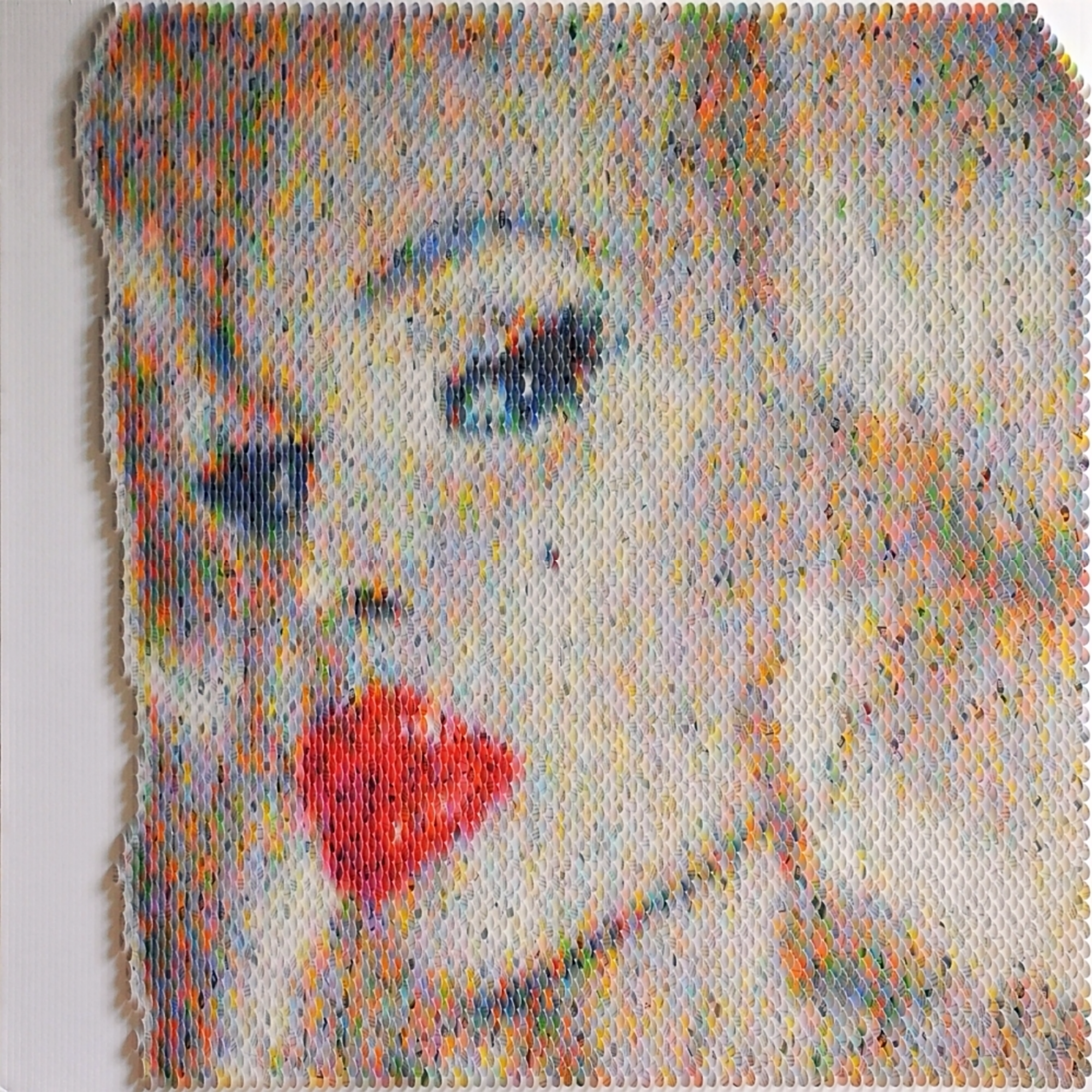 New Portraits Made From Hundreds of Punched Paint Chips - Amanda Lepore