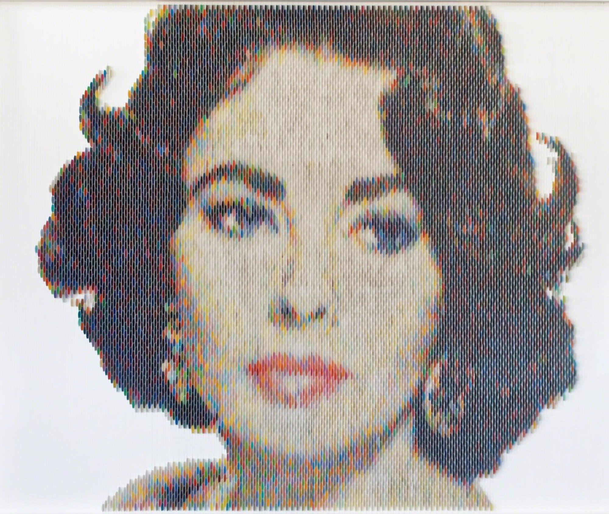 New Portraits Made From Hundreds of Punched Paint Chips