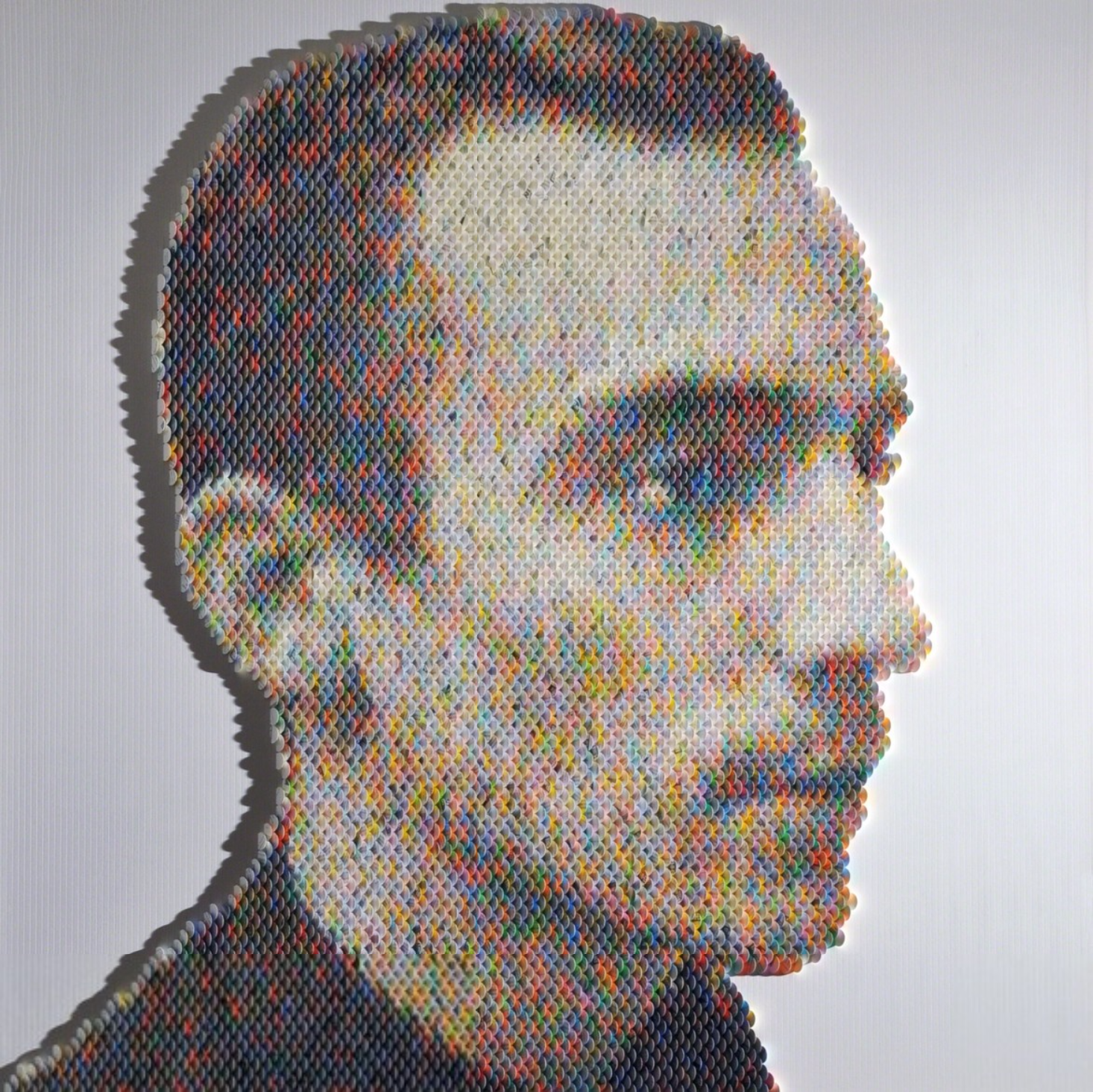 New Portraits Made From Hundreds of Punched Paint Chips - Pete De Vooght