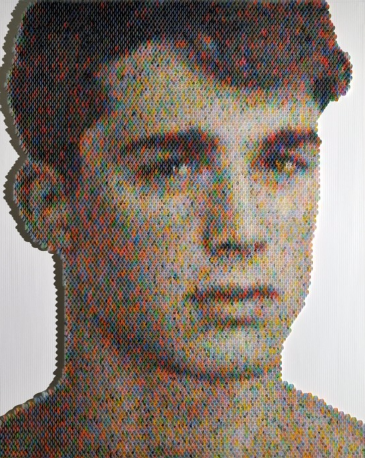 New Portraits Made From Hundreds of Punched Paint Chips - Pietro Boselli