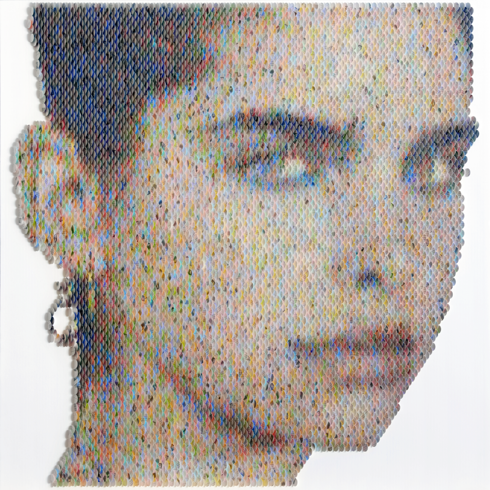 New Portraits Made From Hundreds of Punched Paint Chips - Shaughnessy Brown