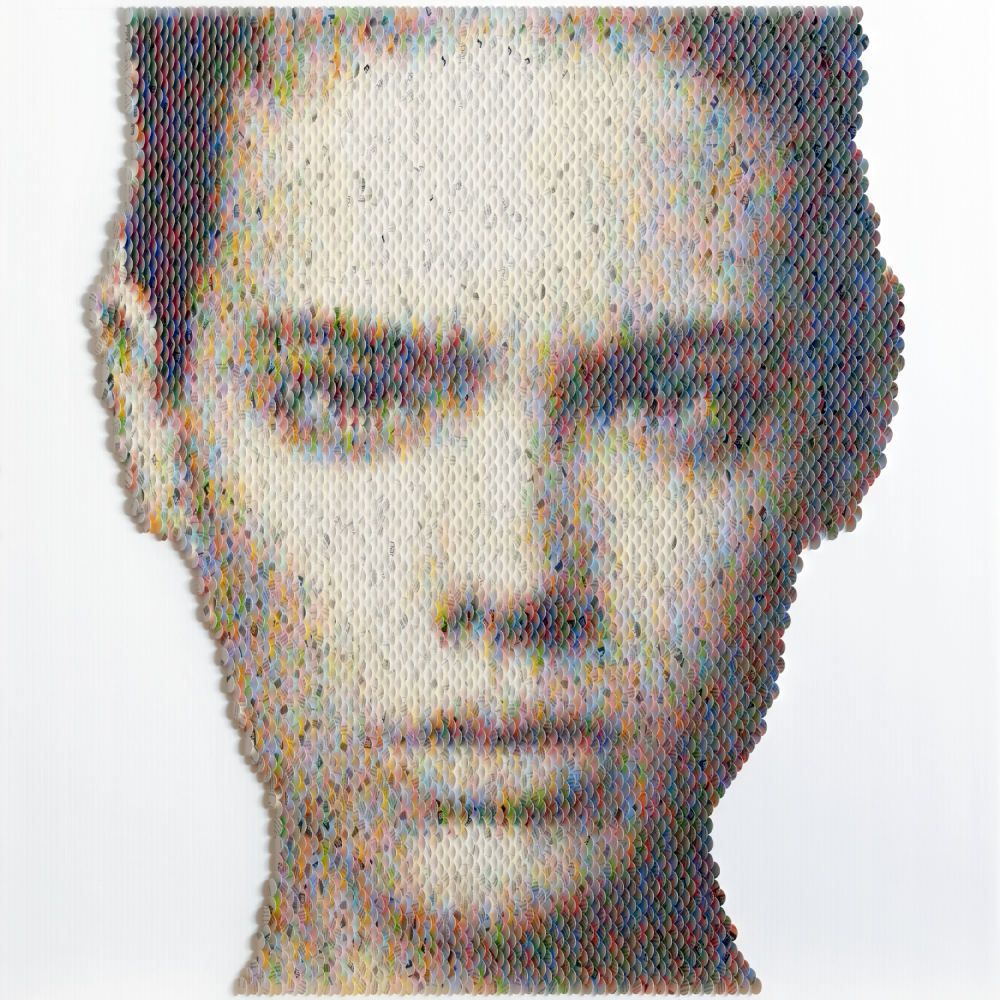 New Portraits Made From Hundreds of Punched Paint Chips - Taja Feistner