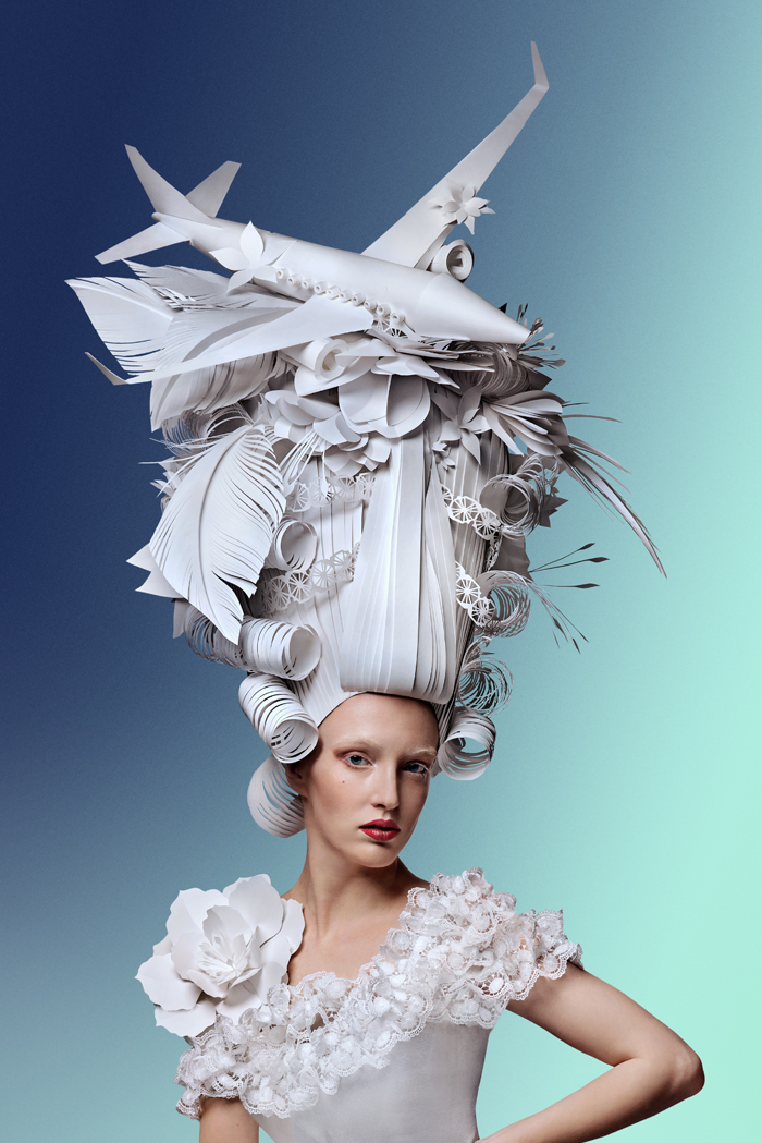 Extravagant Baroque Paper Wigs Adorned with Everyday Objects - Airplane