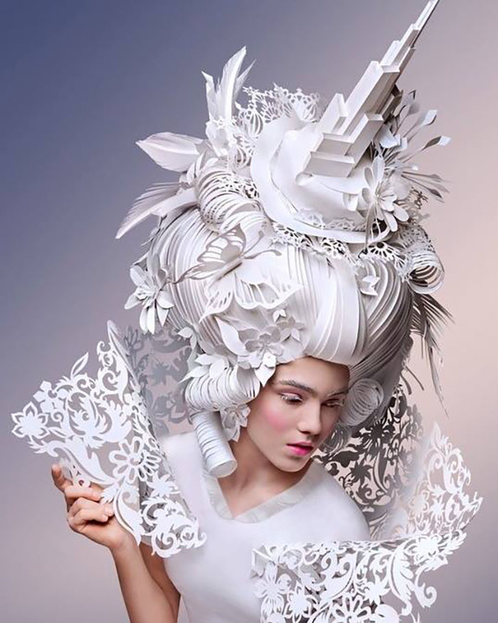 Extravagant Baroque Paper Wigs Adorned with Everyday Objects - Building
