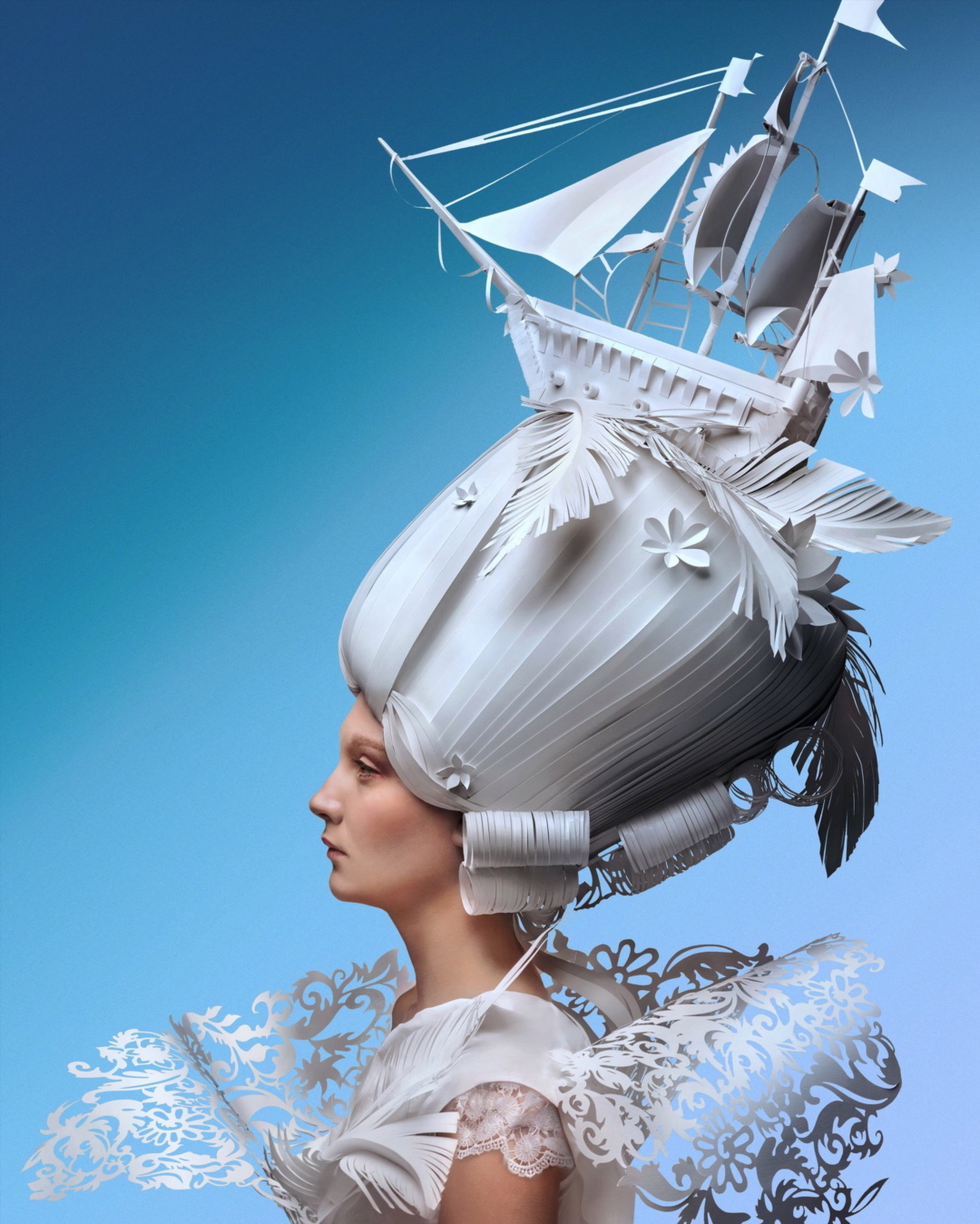 Extravagant Baroque Paper Wigs Adorned with Everyday Objects - Ship Profile