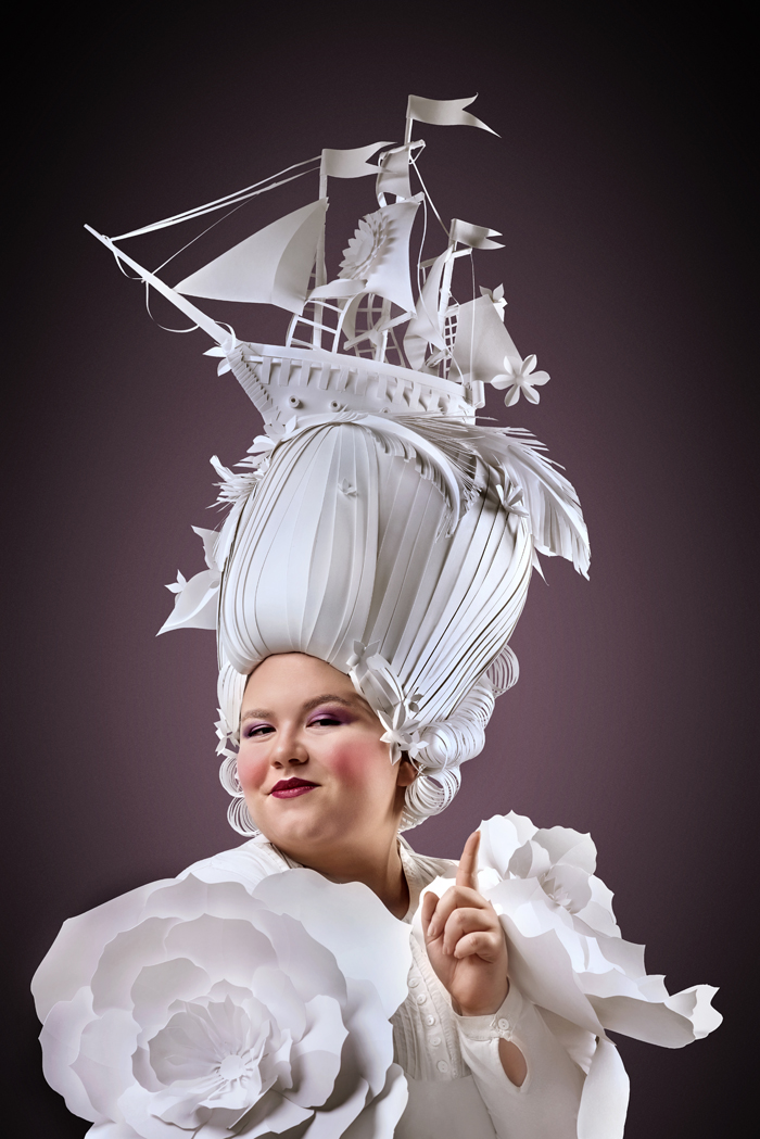 Extravagant Baroque Paper Wigs Adorned with Everyday Objects - Ship Front