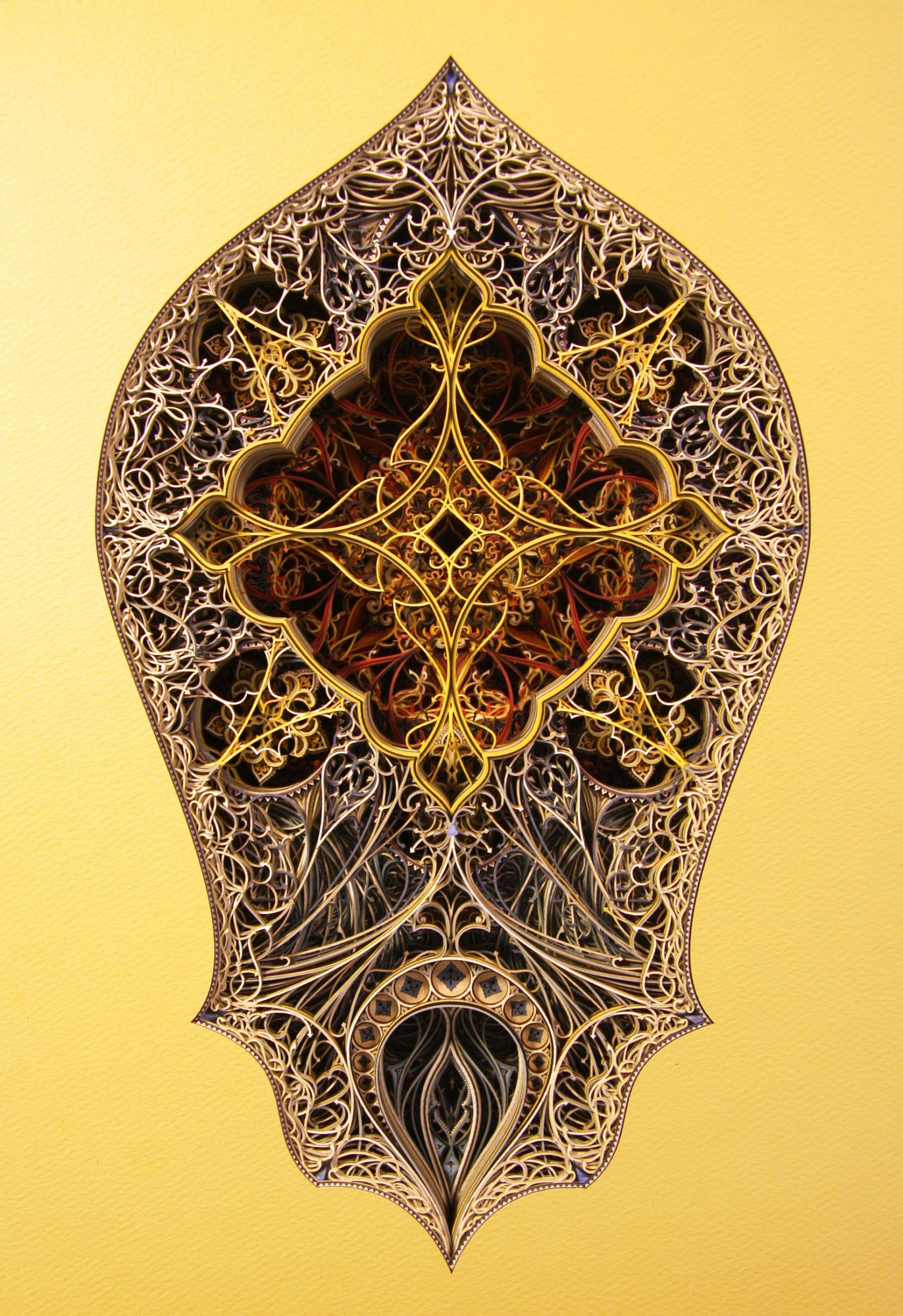New Intricate Stained Glass Windows from Colorful Laser Cut Paper (Video) - Arch 6