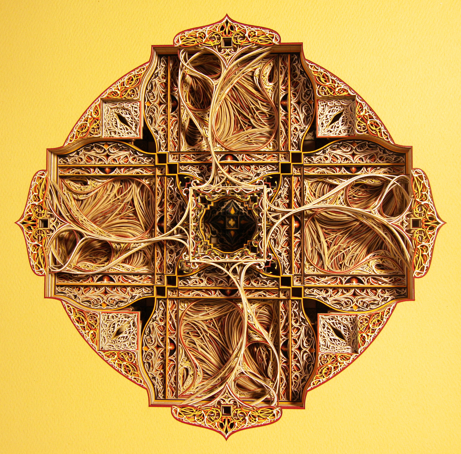 Eric Standley Intricate Stained Glass Windows from Colorful Laser Cut Paper (Video) - Either/Or Delta