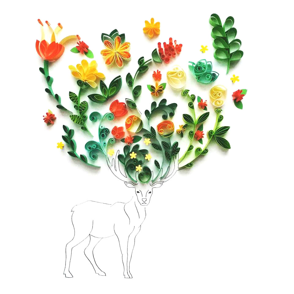 Whimsical Quilled Illustrations by Meloney Celliers - Deer