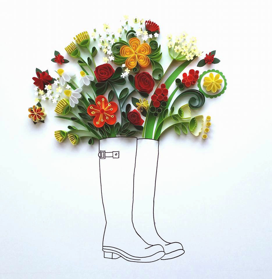 Whimsical Quilled Illustrations by Meloney Celliers - Rain Boots