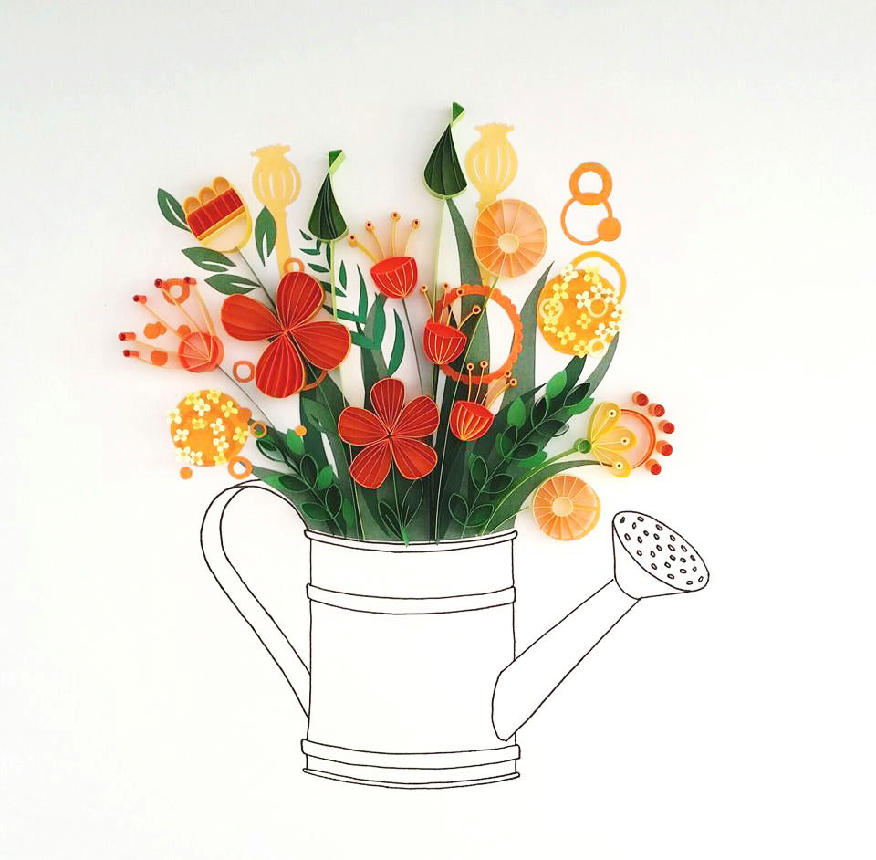 Whimsical Quilled Illustrations by Meloney Celliers - Watering Can