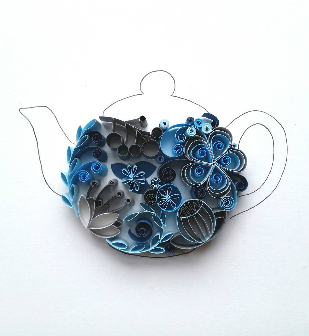 Whimsical Quilled Illustrations by Meloney Celliers - Teapot