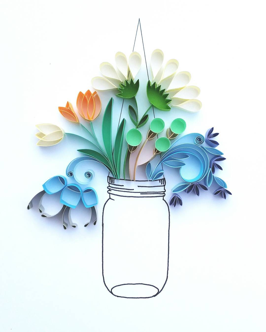 Whimsical Quilled Illustrations by Meloney Celliers - Vase