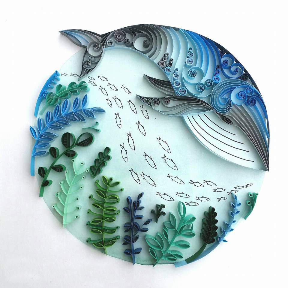 Whimsical Quilled Illustrations by Meloney Celliers - Whale