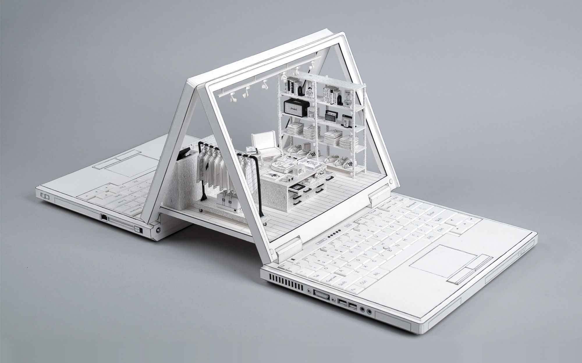 Cardboard Dioramas of Laptops Depicting Human Relationships with Technology
