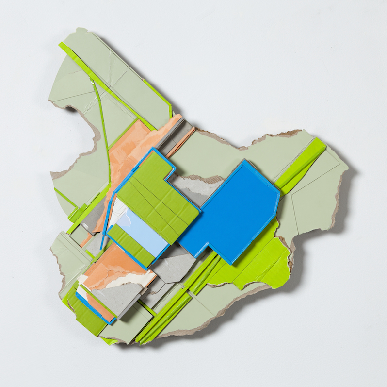 Abstract Contemporary Collage Reliefs Constructed from Found Cardboard by Ryan Sarah Murphy