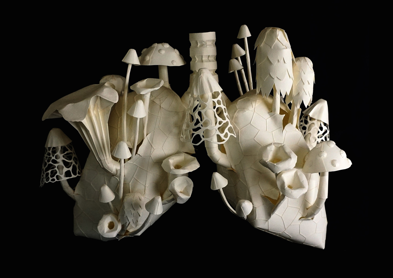 Eerily Beautiful and Macabre Paper Sculptures by Sinan Soykut - Fungi Lungs