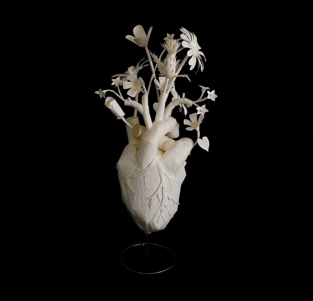 Eerily Beautiful and Macabre Paper Sculptures by Sinan Soykut - Flower Heart