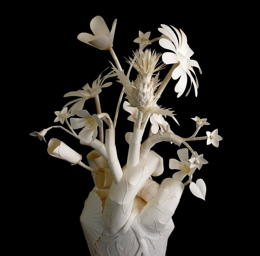 Eerily Beautiful and Macabre Paper Sculptures by Sinan Soykut - Heart Flowers