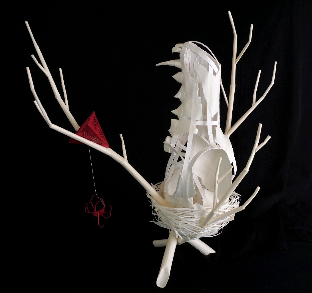 Eerily Beautiful and Macabre Paper Sculptures by Sinan Soykut - Skull Nest
