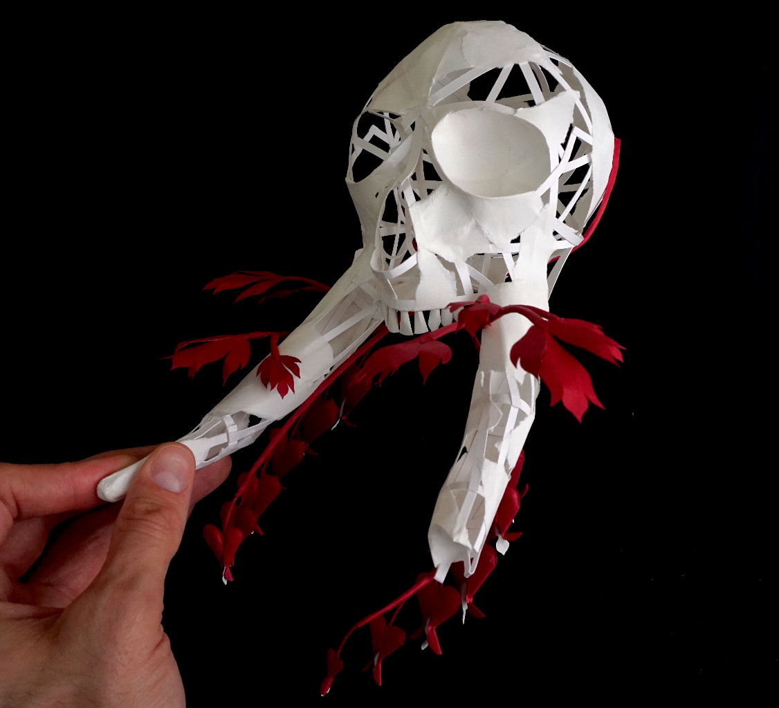 Eerily Beautiful and Macabre Paper Sculptures by Sinan Soykut - Skull