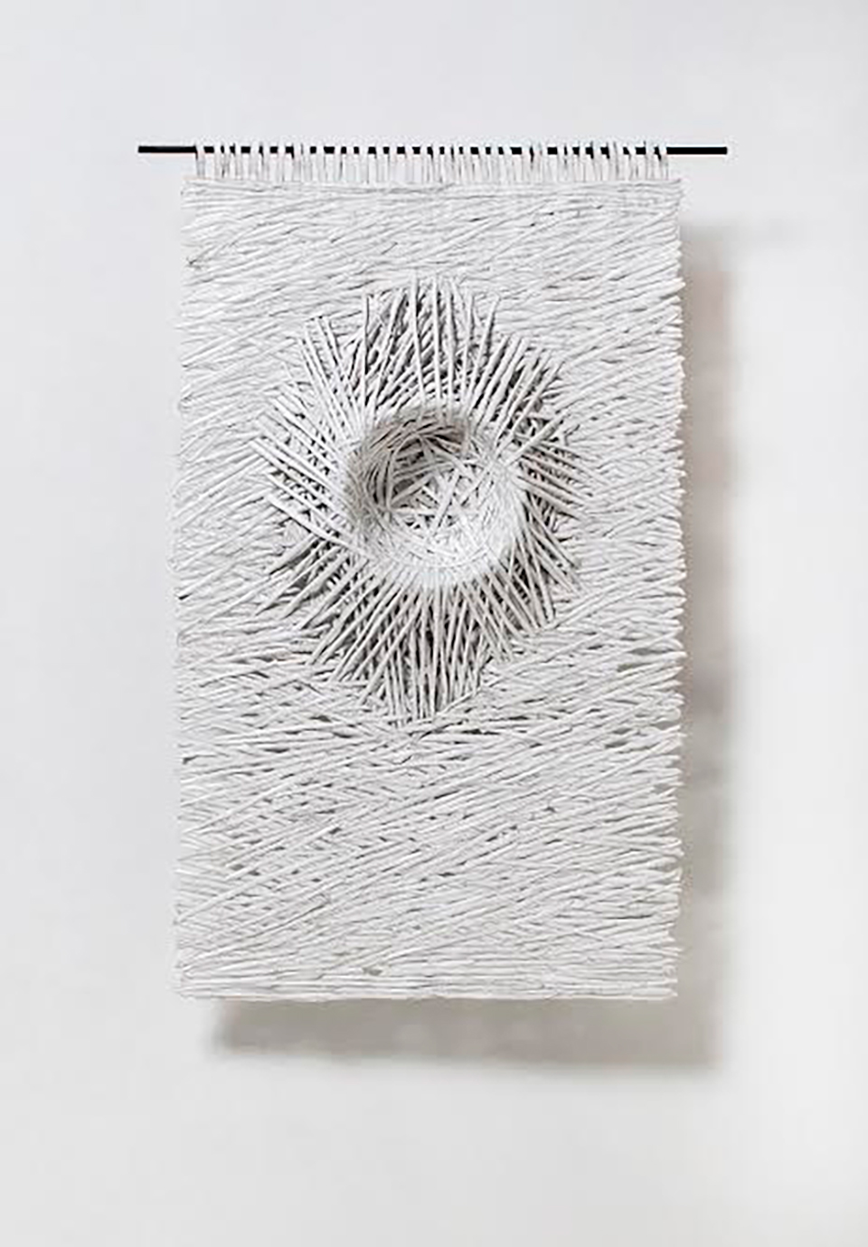 Textural Monochrome Hand-Torn Paper Tapestries Inspired by Nature - Nesting