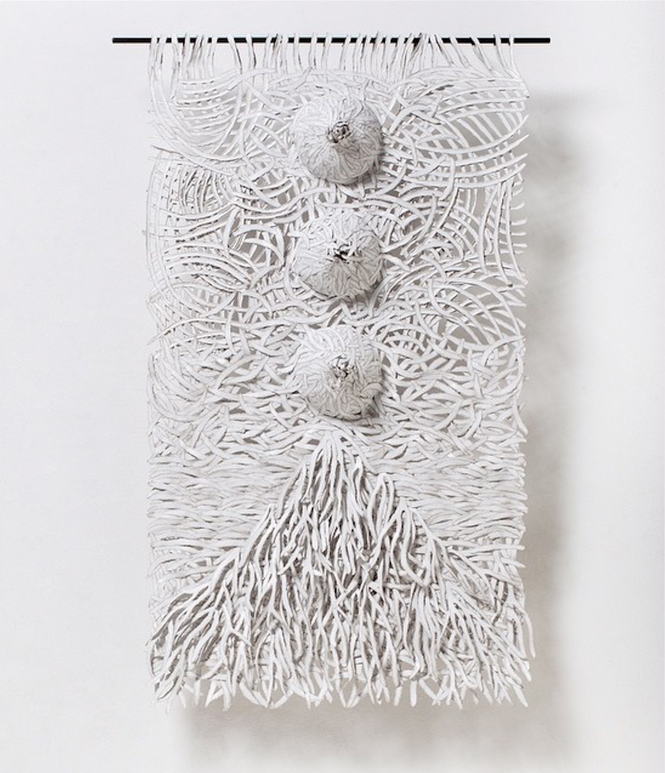 Textural Monochrome Hand-Torn Paper Tapestries Inspired by Nature - Uprooted