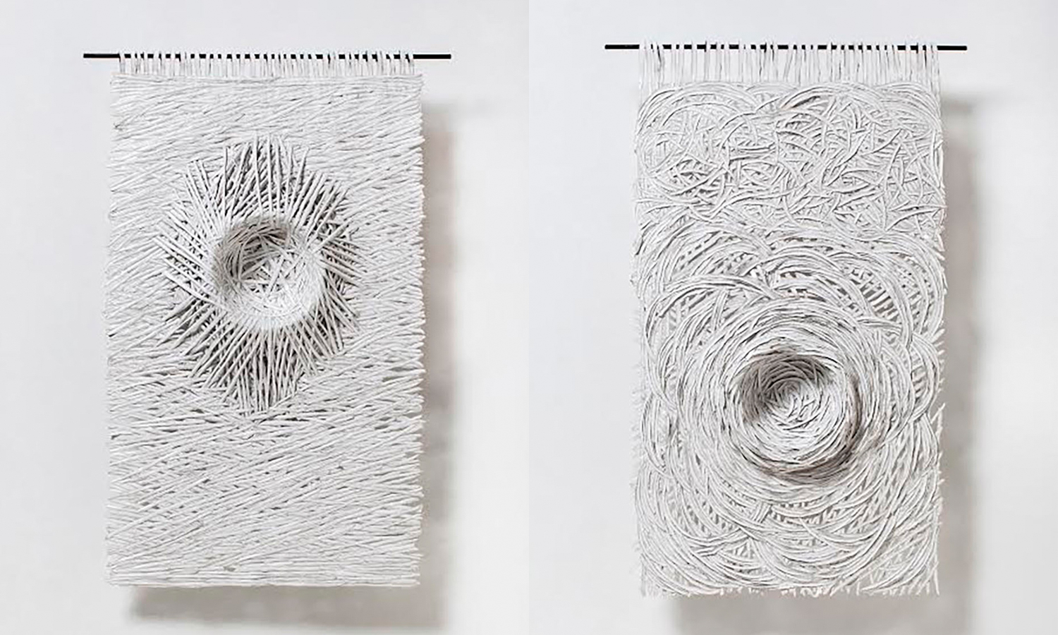 Textural Monochrome Hand-Torn Paper Tapestries Inspired by Nature - Nests
