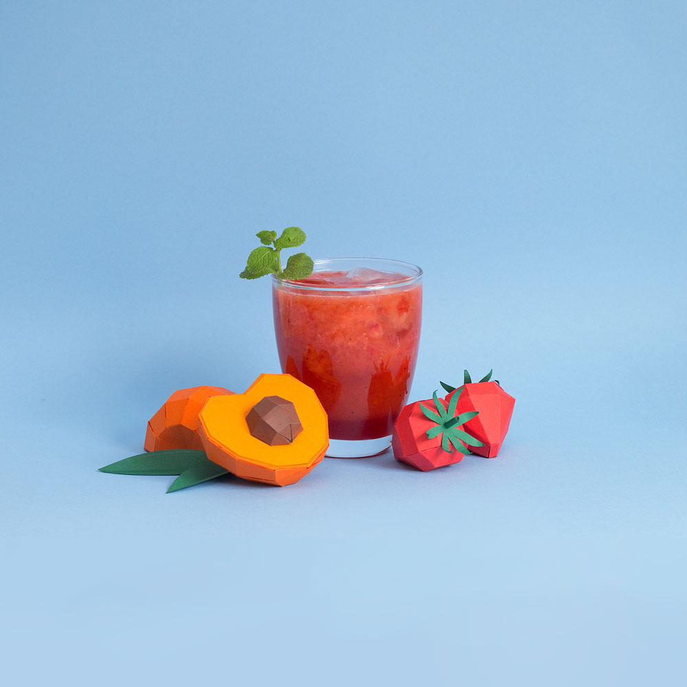 Fresh Drinks: Tropical Paper Craft Ingredients by Rendi Studio - Peach + Strawberry