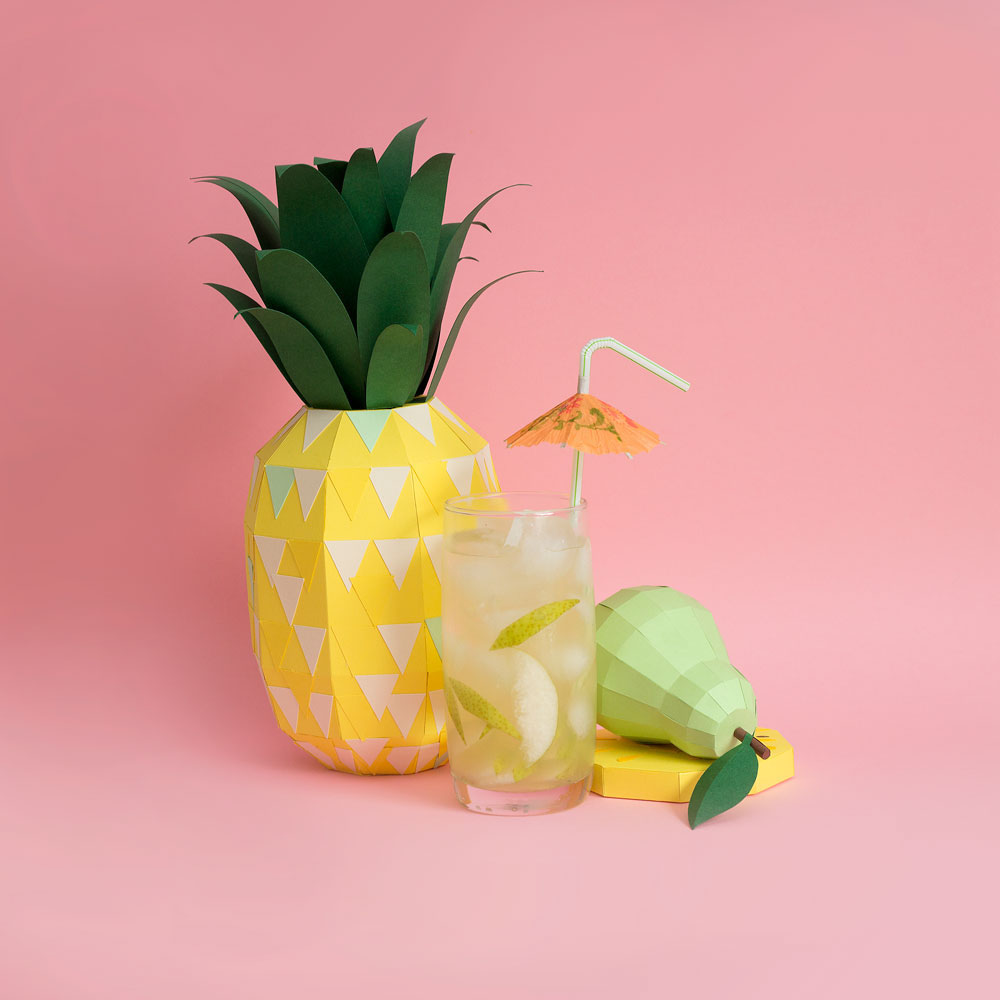 Fresh Drinks: Tropical Paper Craft Ingredients by Rendi Studio - Pineapple + Pear
