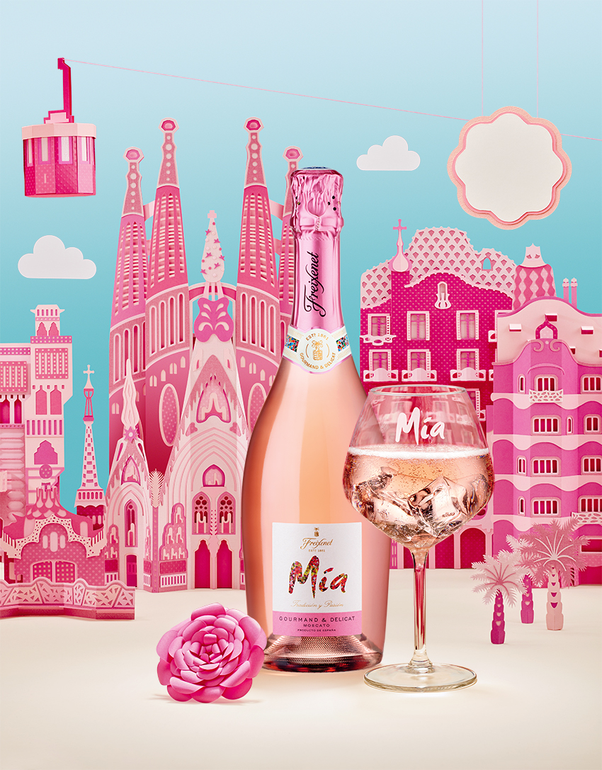 Barcelona's Architectural Landmarks Crafted in Pink Paper - Freixenet