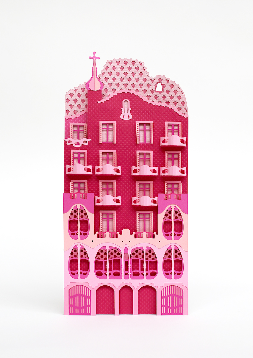Barcelona's Architectural Landmarks Crafted in Pink Paper - Freixenet - Casa Mila