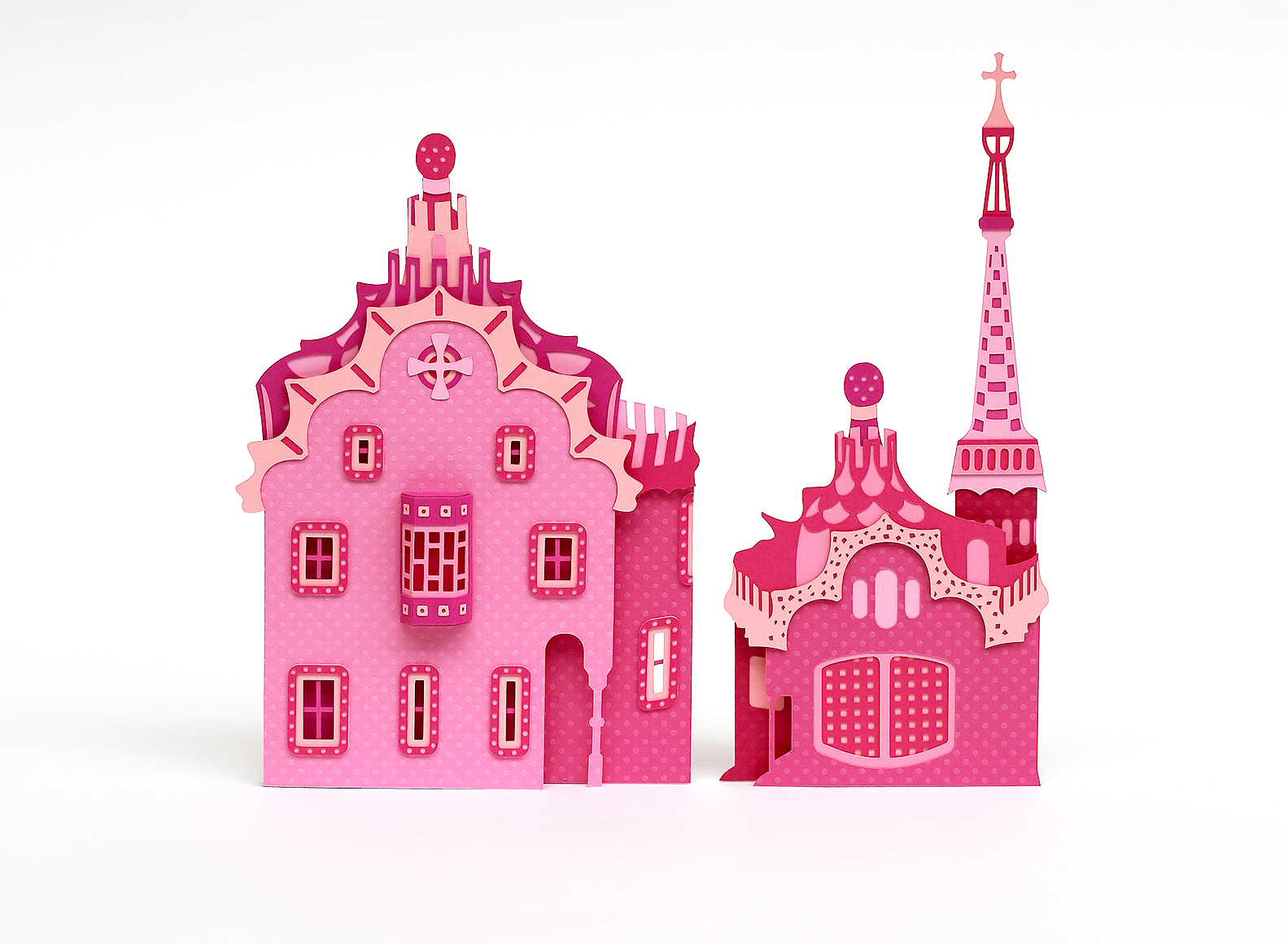 Barcelona's Architectural Landmarks Crafted in Pink Paper - Freixenet - Parc Guell