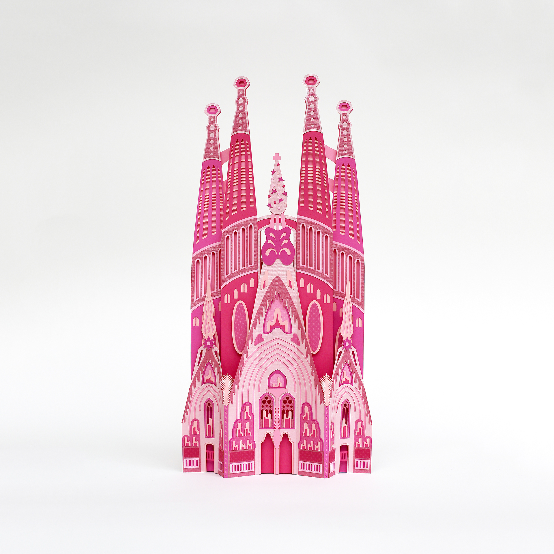 Barcelona's Architectural Landmarks Crafted in Pink Paper - Freixenet - Sagrada de Familia