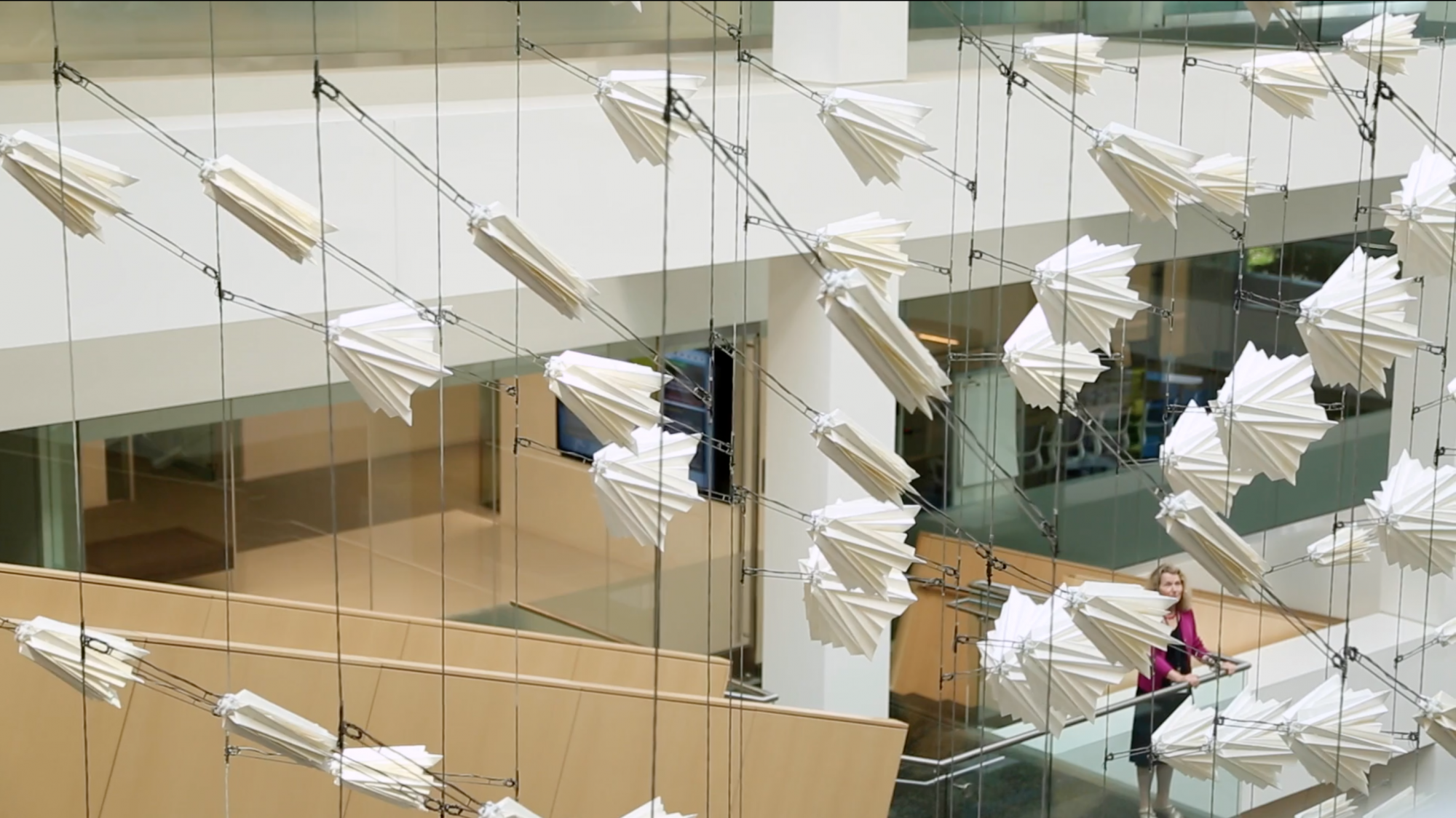 A Kinetic Sculpture Revealing the Movements of An Invisible Flock of Birds